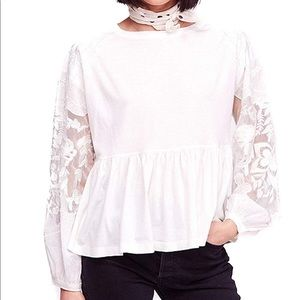 Free People embroidery lace penny top NWT
